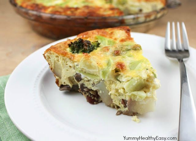 Easy Roasted Mushroom & Potato Cheese Frittata - Yummy Healthy Easy