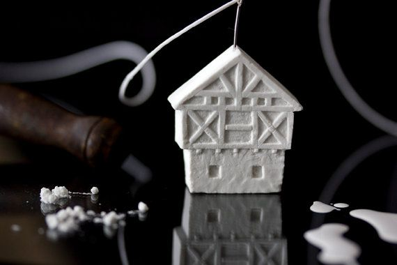 German House Necklace pure white clay sculpture by POAST €34