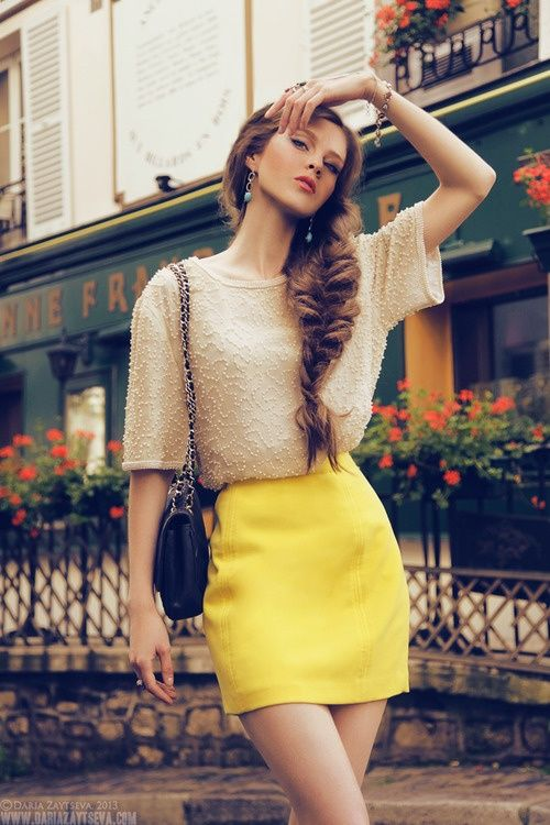 Gold/nude blouse + yellow skirt