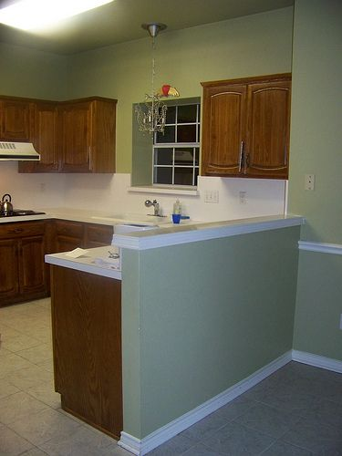 half wall before before and after kitchen make s