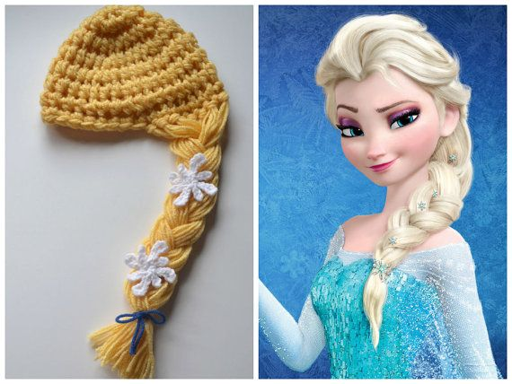 ... Frozen Elsa baby crochet hat, Disney princess baby hair hat, b