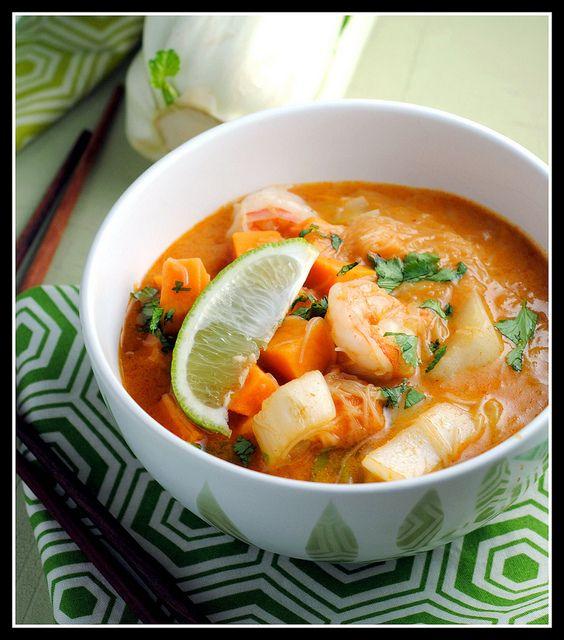 red curry shrimp soup