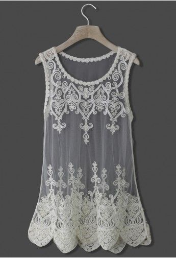 womens fashion clothing uk Baroque Embroidery White Mesh Top
