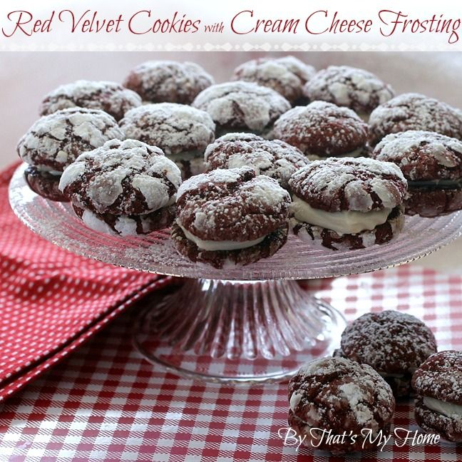 Red Velvet Cookies with Cream Cheese Frosting - That's My Home