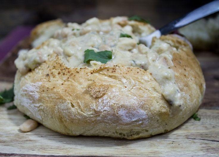 White Chili in Bread Bowl || SouthernFATTY.com