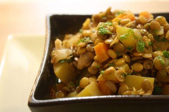 Yum! Autumn Lentil & Pumpkin (or Sweet Potato) Stew with Cilantro Oil