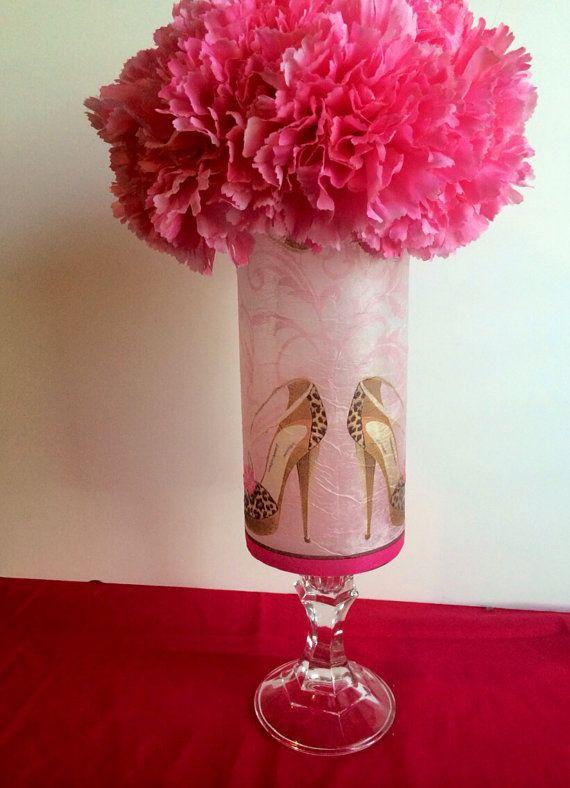 Sweet 16 centerpiece high heel centerpiece by janiescreativecrafts wedding card box - Cheetah print centerpieces ...