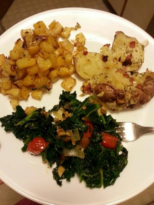 """sauteed kale: """"steam"""" in pan until wilted, then sautee with oil, fr..."""