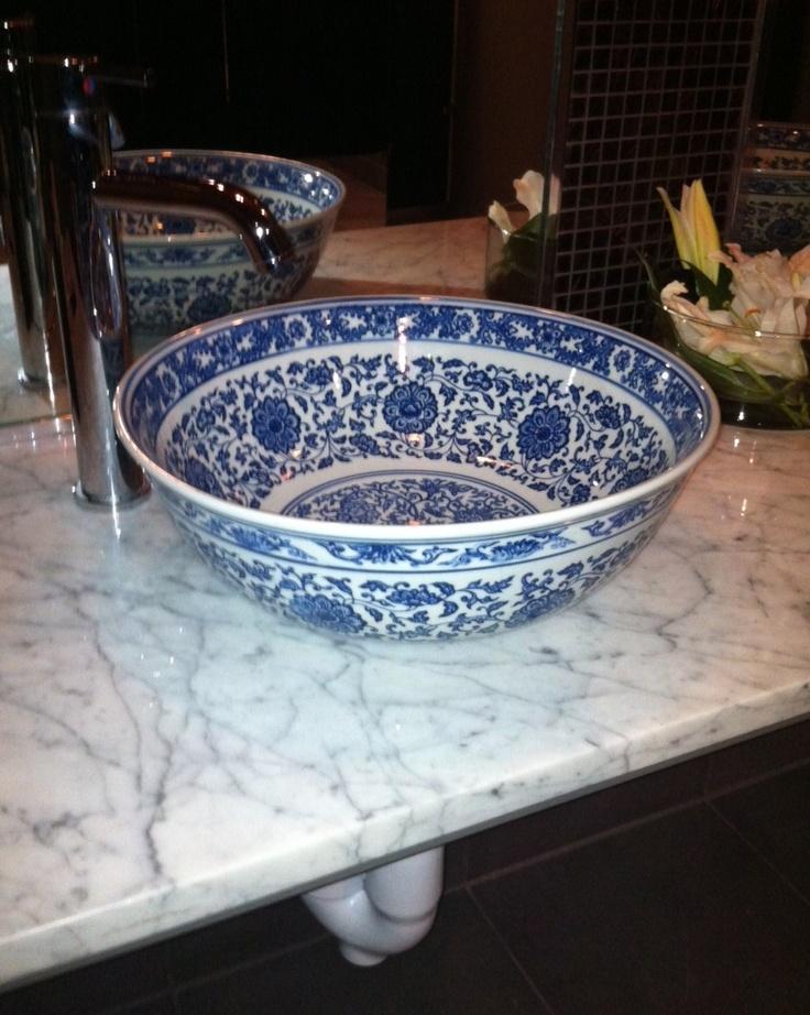 blue + white porcelain bowl sink