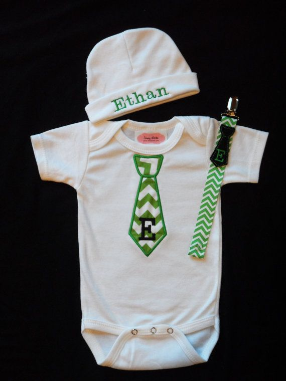 Monogram Baby Boy Clothes e Piece with Tie and
