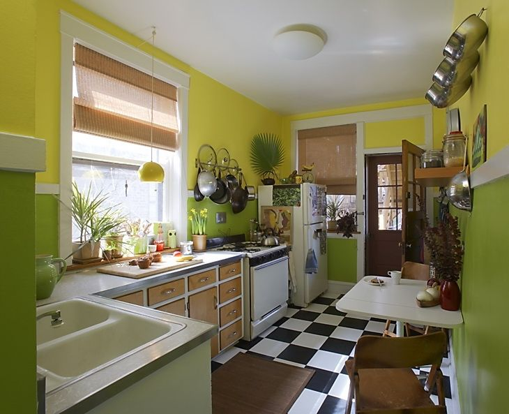 lime kitchen  floor, cabinets, window, love