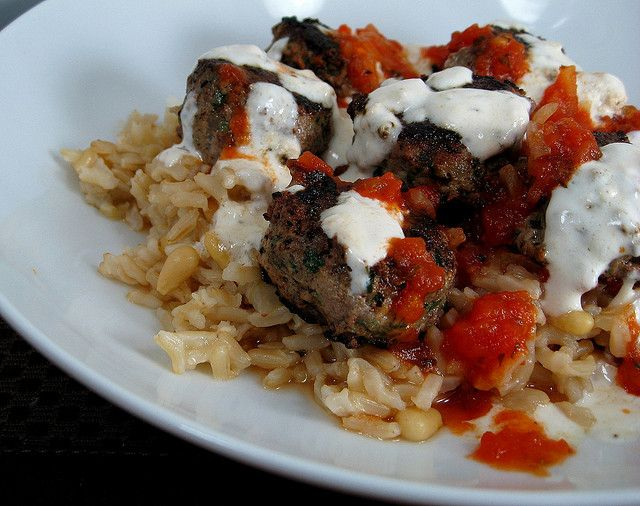 Spiced Lamb Meatballs with Tomato and Yogurt sauce.... can't wait to ...