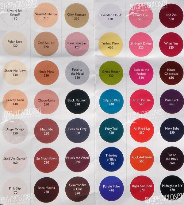 Sally Hansen Salon Color Chart  Beauty  Pinterest