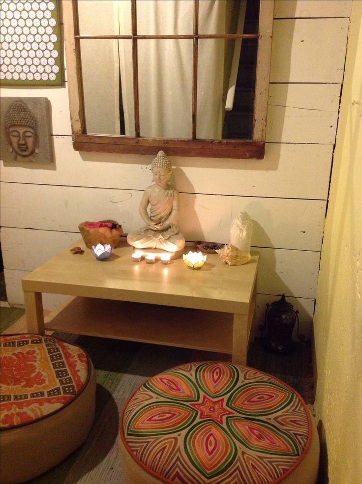 My meditation corner bohemian meditation room pinterest for Meditation living room