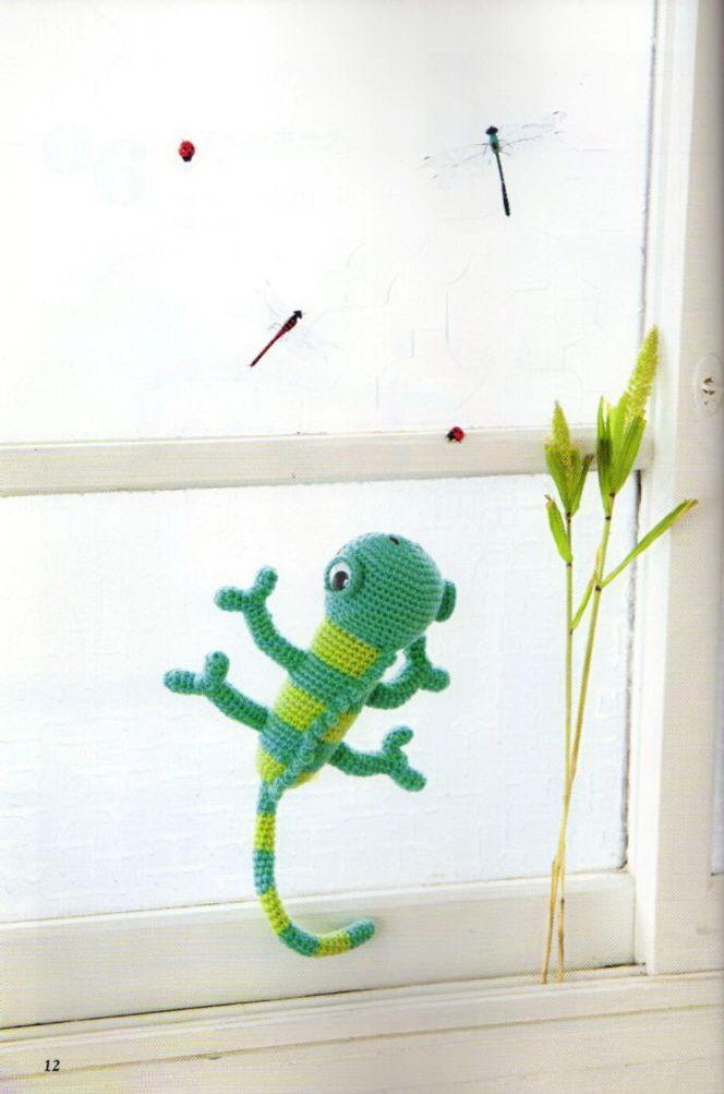 Amigurumi Chameleon Free Pattern : patron de iguana!! en con diagrama. Amigurumi Pinterest