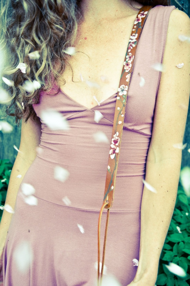 Cherry blossom thin leather guitar strap. Custom made for Gillian Welch.