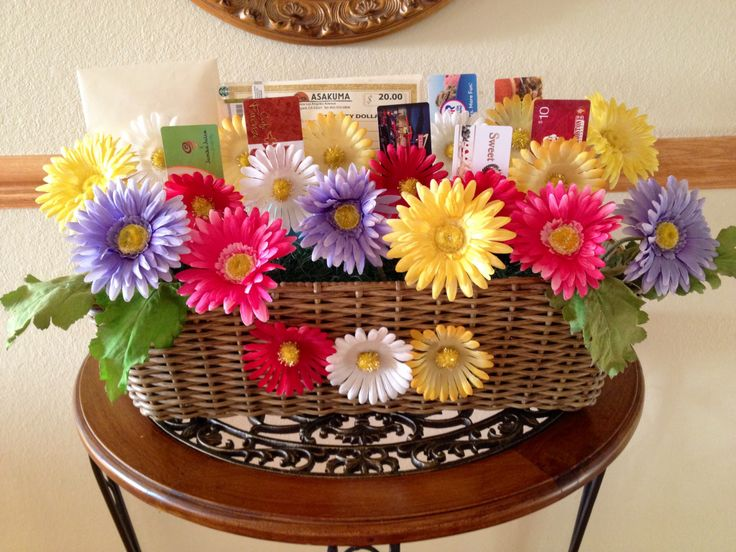 Wedding Gift Basket For Sister : Gift Card Bouquet Basket! Great idea I might make this for my brother ...