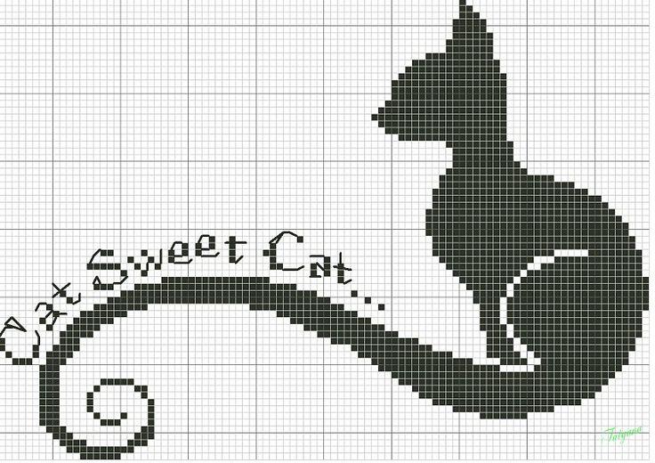 Вышивка крестом схемы кошка черная 2793
