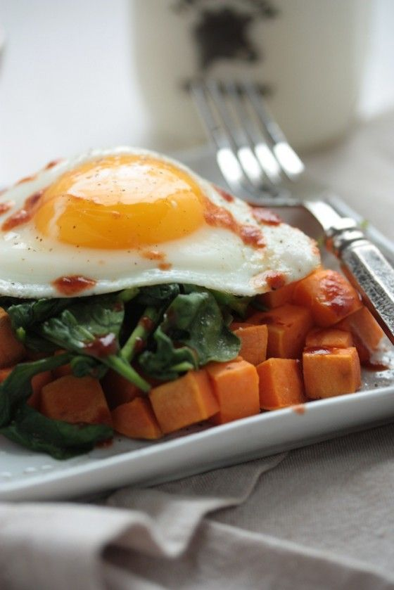 Sweet Potato Spinach Breakfast Hash - 3 ingredients and a super ...