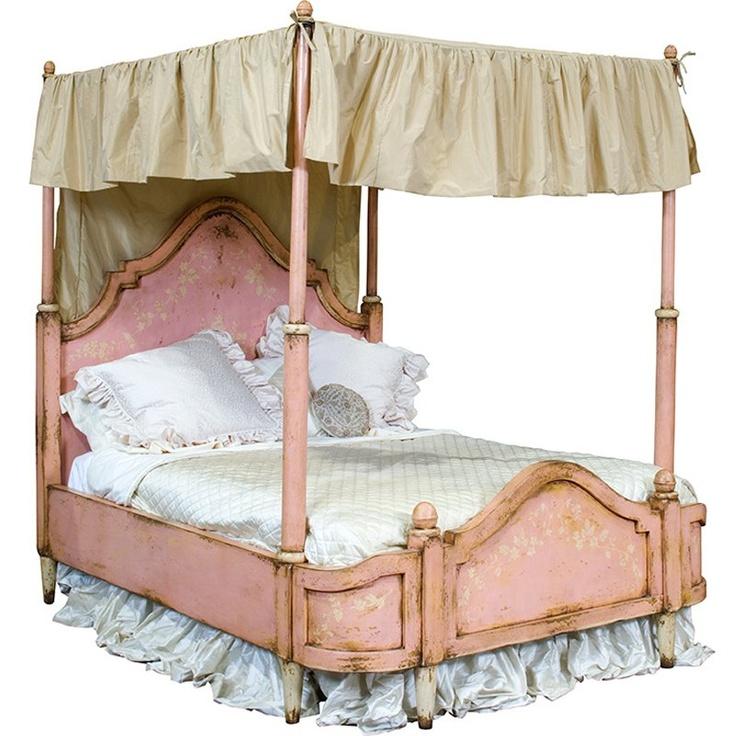 Vintage pink painted canopy bed vintage pinterest