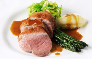 ... duck breast with asparagus, caramelised shallot and hispi cabbage