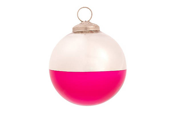 Neon-dipped ornaments! This would be an easy DIY.
