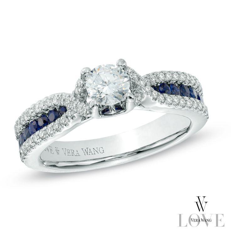 Vera Wang LOVE Collection 3 4 CT T W Diamond and Blue Sapphire Enga…
