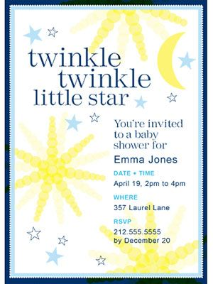 twinkle twinkle little star baby shower invitation via