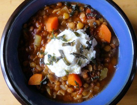 Lentil Stew with Ricotta & Fried Sage   FBC Member Food Blog Posts ...