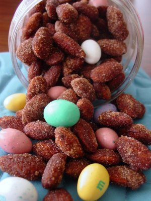 Cinnamon almonds (mixed with M&M's!) *TIP: Add 1/4 tsp salt to add ...