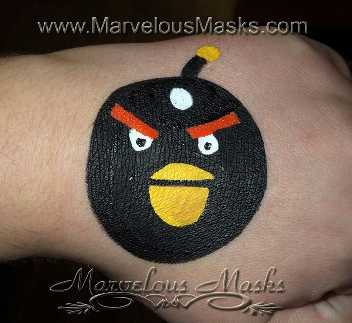 Angry birds | Cheek and arm face paint | Pinterest