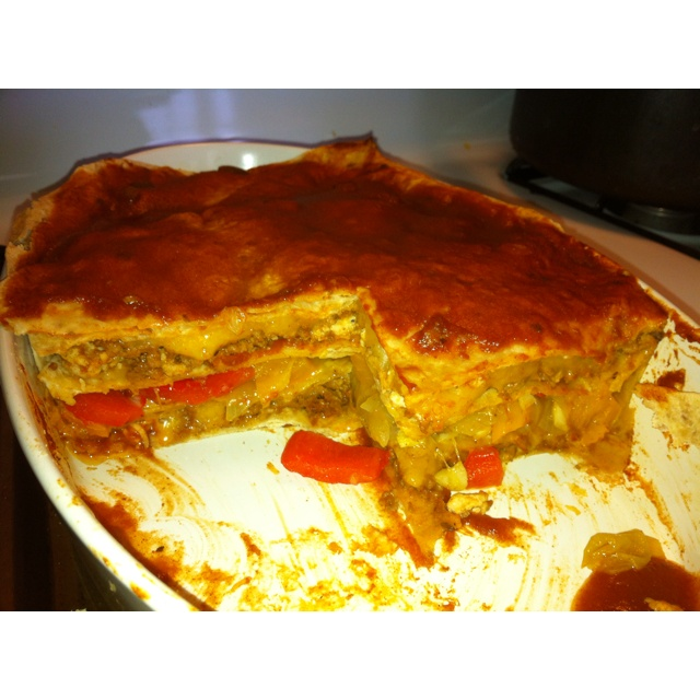 and whole wheat tortilla Mexican lasagna with fresh sautéd veggies ...