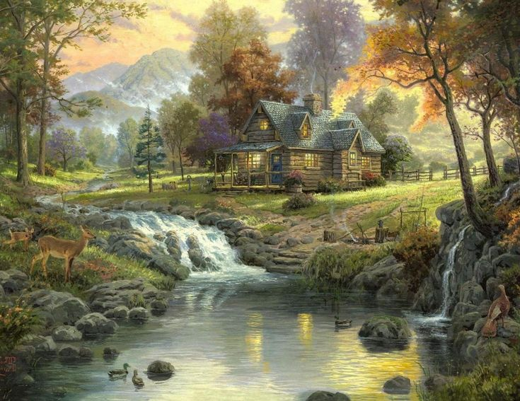 Waterfall Paintings Cottage Art Best Great Artwork Images On Pinterest Work