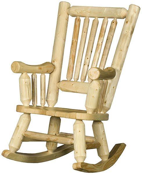 Log Rocking Chair Cabin Decor