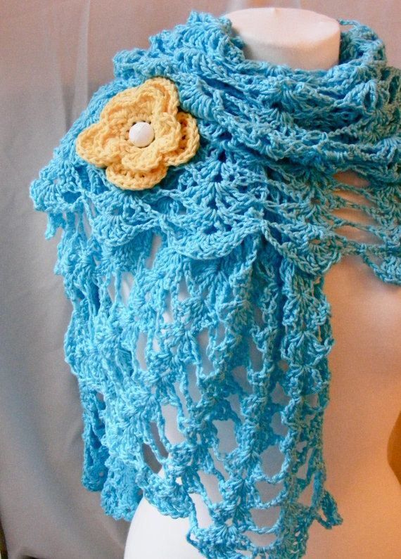 Blue Lace Crochet Shawl with Rose-Vintage-Accessory-Handmade