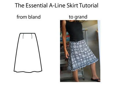 The Essential A-Line Skirt Tutorial.  A classic, style that's easy to sew, and they look great on every body-type too.--I really need to learn how to sew!