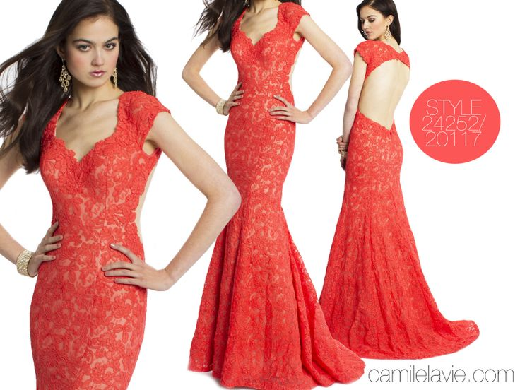 Camille La Vie Capped Sleeve Lace Prom Dress with Open Back Detail. Breathtaking runway style!