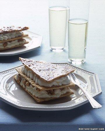 Cream puff recipes: Praline Napoleons with Almond Cream Filling Recipe