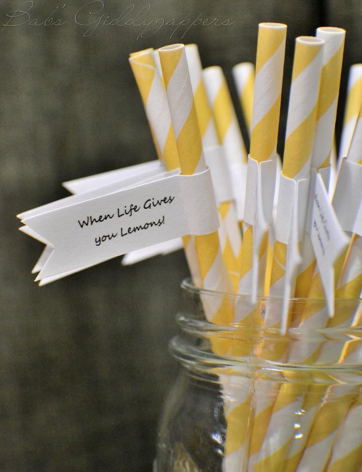 Yellow and White Striped Paper Straws.  also come in grey/white and orange/white!