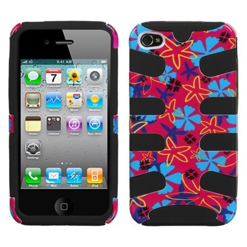 Hybrid Flower Flake/ Black Fishbone protector cover is not only pretty look but also protect your iPhone 4/4S.Click to try now!
