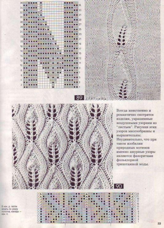 Вязание спицами схема ажурный лист