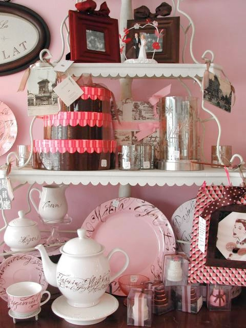 "When chocolate and pink was king ;)  Candy shop ""Chocolat"" display at the shop.  www.violetcottage.com"