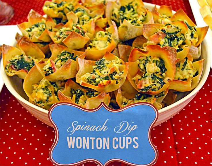 Spinach Dip Wonton Cups. Can you tell I have wonton wrappers and need ...