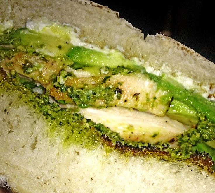 ... sammy! Grilled chicken, pesto, goat cheese and avocado on a grilled