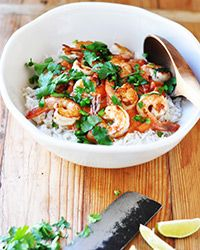 SHRIMP w/ COCONUT-CURRY TOMATO SAUCE 3 T oil 1 med onion, thinly ...