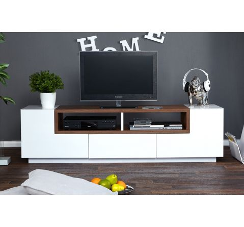 Meuble TV design Bosselli High Gloss blanc/bois massif 165*46 - 489€
