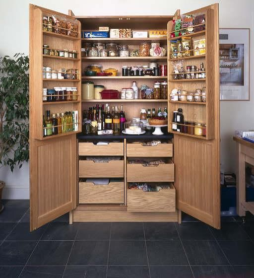 Stand Alone Wooden Pantry With Doors For The Home