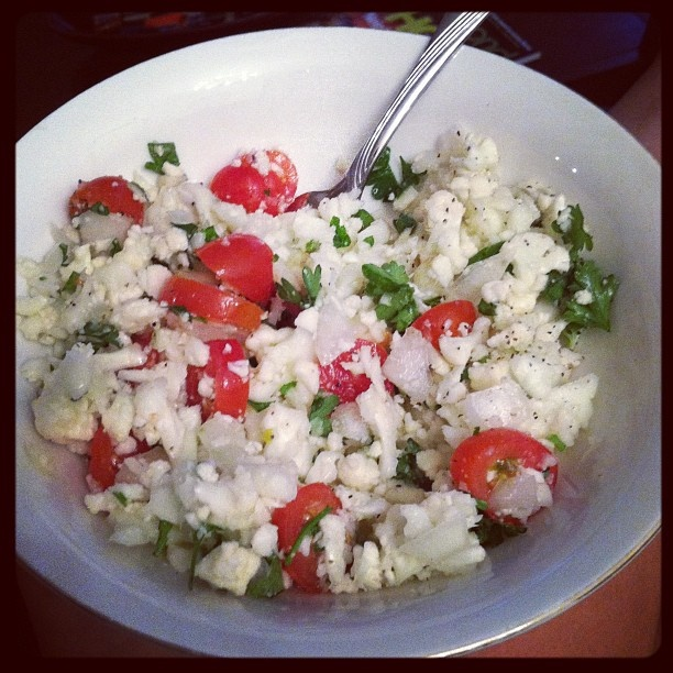 Tabbouleh... made with Cauliflower! Low calorie, vegan, & gluten free!