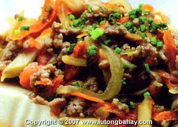 Steamed Tofu with Ground Pork (Tofu topped with stir-fried pork and ...
