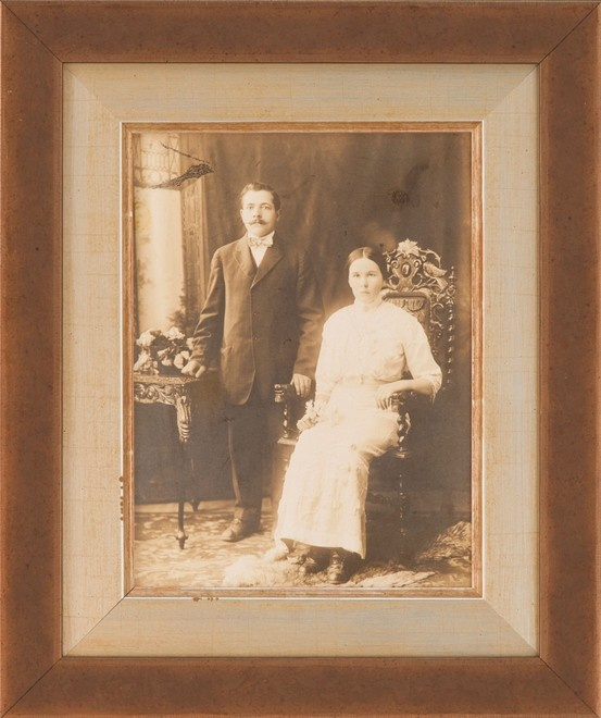 Vintage family photos are given new life when framed in a for Larson juhl